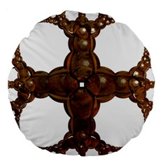 Cross Golden Cross Design 3d Large 18  Premium Round Cushions