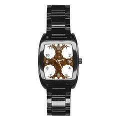 Cross Golden Cross Design 3d Stainless Steel Barrel Watch
