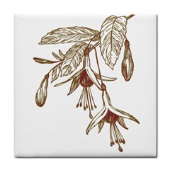 Floral Spray Gold And Red Pretty Tile Coasters by Nexatart
