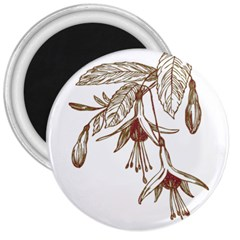 Floral Spray Gold And Red Pretty 3  Magnets by Nexatart