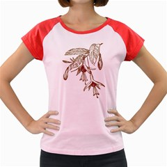 Floral Spray Gold And Red Pretty Women s Cap Sleeve T-Shirt by Nexatart