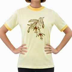 Floral Spray Gold And Red Pretty Women s Fitted Ringer T Shirts