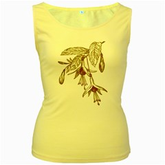 Floral Spray Gold And Red Pretty Women s Yellow Tank Top