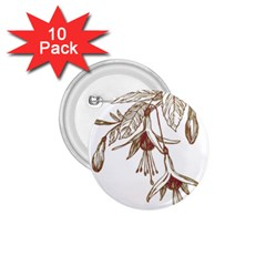 Floral Spray Gold And Red Pretty 1 75  Buttons (10 Pack)