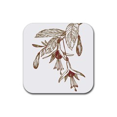 Floral Spray Gold And Red Pretty Rubber Square Coaster (4 Pack)