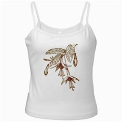 Floral Spray Gold And Red Pretty Ladies Camisoles