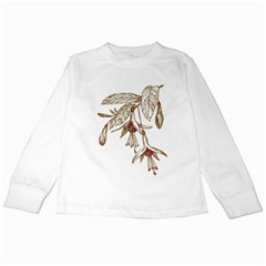 Floral Spray Gold And Red Pretty Kids Long Sleeve T Shirts