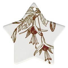 Floral Spray Gold And Red Pretty Star Ornament (two Sides) by Nexatart