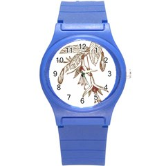 Floral Spray Gold And Red Pretty Round Plastic Sport Watch (s) by Nexatart