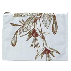 Floral Spray Gold And Red Pretty Cosmetic Bag (xxl)  by Nexatart