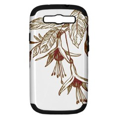 Floral Spray Gold And Red Pretty Samsung Galaxy S Iii Hardshell Case (pc+silicone)