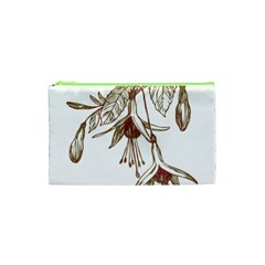 Floral Spray Gold And Red Pretty Cosmetic Bag (xs) by Nexatart