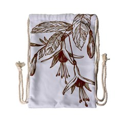 Floral Spray Gold And Red Pretty Drawstring Bag (small)