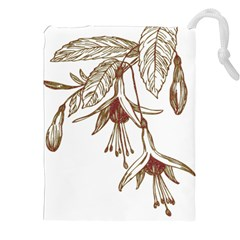 Floral Spray Gold And Red Pretty Drawstring Pouches (xxl) by Nexatart