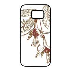 Floral Spray Gold And Red Pretty Samsung Galaxy S7 Edge Black Seamless Case by Nexatart