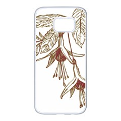 Floral Spray Gold And Red Pretty Samsung Galaxy S7 Edge White Seamless Case by Nexatart