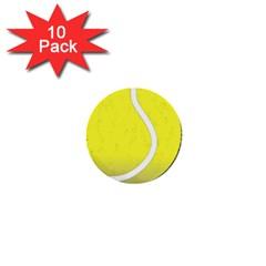 Tennis Ball Ball Sport Fitness 1  Mini Buttons (10 Pack)  by Nexatart