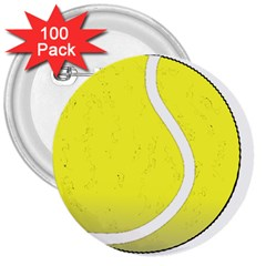 Tennis Ball Ball Sport Fitness 3  Buttons (100 Pack)  by Nexatart