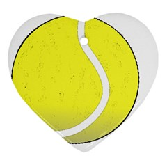 Tennis Ball Ball Sport Fitness Heart Ornament (two Sides) by Nexatart