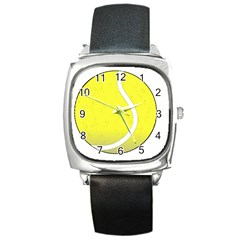 Tennis Ball Ball Sport Fitness Square Metal Watch by Nexatart