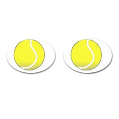 Tennis Ball Ball Sport Fitness Cufflinks (oval) by Nexatart