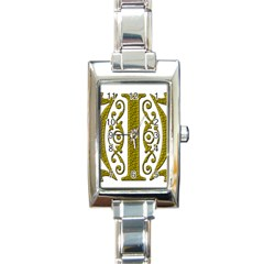 Gold Scroll Design Ornate Ornament Rectangle Italian Charm Watch by Nexatart