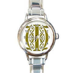 Gold Scroll Design Ornate Ornament Round Italian Charm Watch by Nexatart