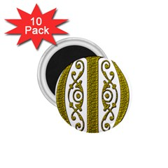 Gold Scroll Design Ornate Ornament 1 75  Magnets (10 Pack)