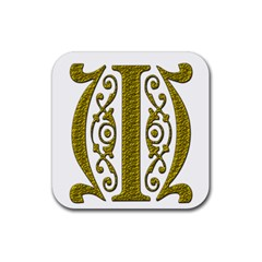 Gold Scroll Design Ornate Ornament Rubber Square Coaster (4 Pack)  by Nexatart