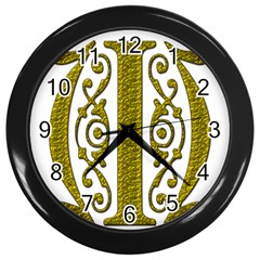 Gold Scroll Design Ornate Ornament Wall Clocks (black) by Nexatart