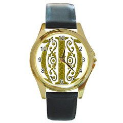 Gold Scroll Design Ornate Ornament Round Gold Metal Watch