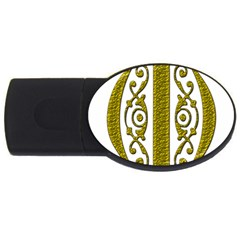 Gold Scroll Design Ornate Ornament Usb Flash Drive Oval (2 Gb)