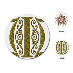 Gold Scroll Design Ornate Ornament Playing Cards (round)  by Nexatart