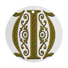 Gold Scroll Design Ornate Ornament Round Ornament (two Sides) by Nexatart