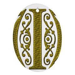 Gold Scroll Design Ornate Ornament Oval Ornament (two Sides) by Nexatart