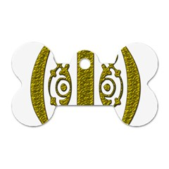 Gold Scroll Design Ornate Ornament Dog Tag Bone (two Sides) by Nexatart