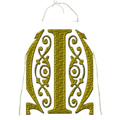 Gold Scroll Design Ornate Ornament Full Print Aprons