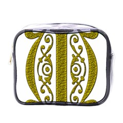 Gold Scroll Design Ornate Ornament Mini Toiletries Bags