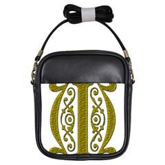 Gold Scroll Design Ornate Ornament Girls Sling Bags