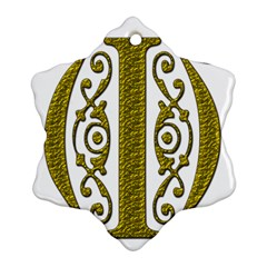 Gold Scroll Design Ornate Ornament Snowflake Ornament (two Sides) by Nexatart