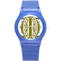 Gold Scroll Design Ornate Ornament Round Plastic Sport Watch (s) by Nexatart