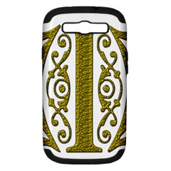 Gold Scroll Design Ornate Ornament Samsung Galaxy S Iii Hardshell Case (pc+silicone)