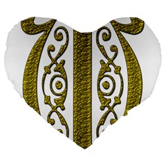 Gold Scroll Design Ornate Ornament Large 19  Premium Heart Shape Cushions by Nexatart