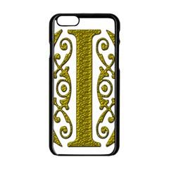Gold Scroll Design Ornate Ornament Apple Iphone 6/6s Black Enamel Case by Nexatart