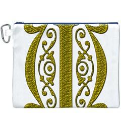 Gold Scroll Design Ornate Ornament Canvas Cosmetic Bag (xxxl) by Nexatart