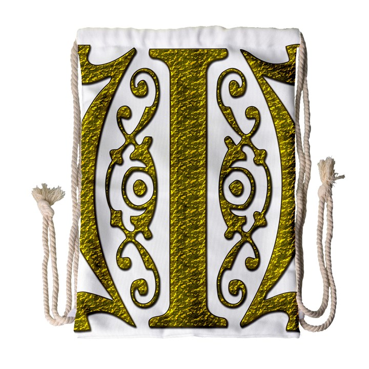Gold Scroll Design Ornate Ornament Drawstring Bag (Large)