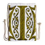 Gold Scroll Design Ornate Ornament Drawstring Bag (Large) Back