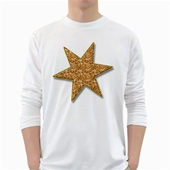 Star Glitter White Long Sleeve T Shirts