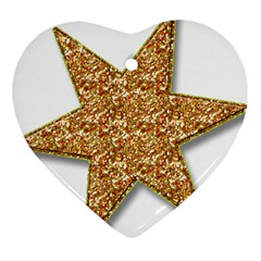Star Glitter Heart Ornament (two Sides) by Nexatart