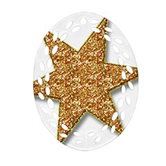 Star Glitter Oval Filigree Ornament (two Sides) by Nexatart